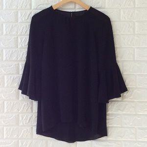 Blaque Label black open back ruffle sleeve blouse
